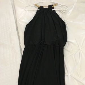 Dresses & Skirts - Black Maxi Dress with Gold chain neck